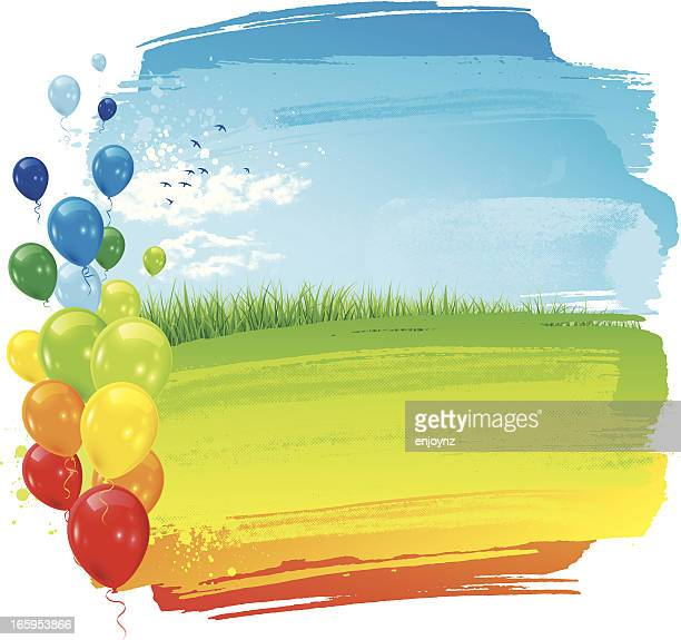 party rainbow landscape background - paddock stock illustrations, clip art, cartoons, & icons