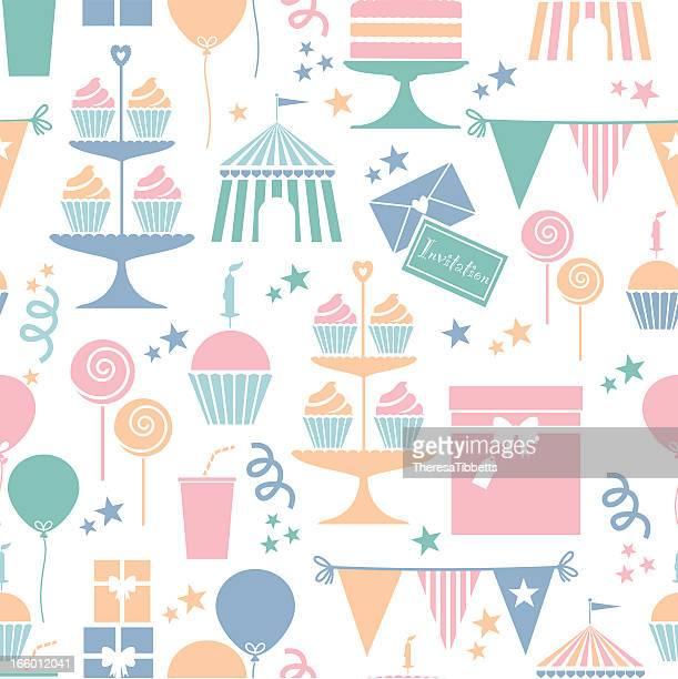 illustrations, cliparts, dessins animés et icônes de fête repeatable motif - anniversaire enfant