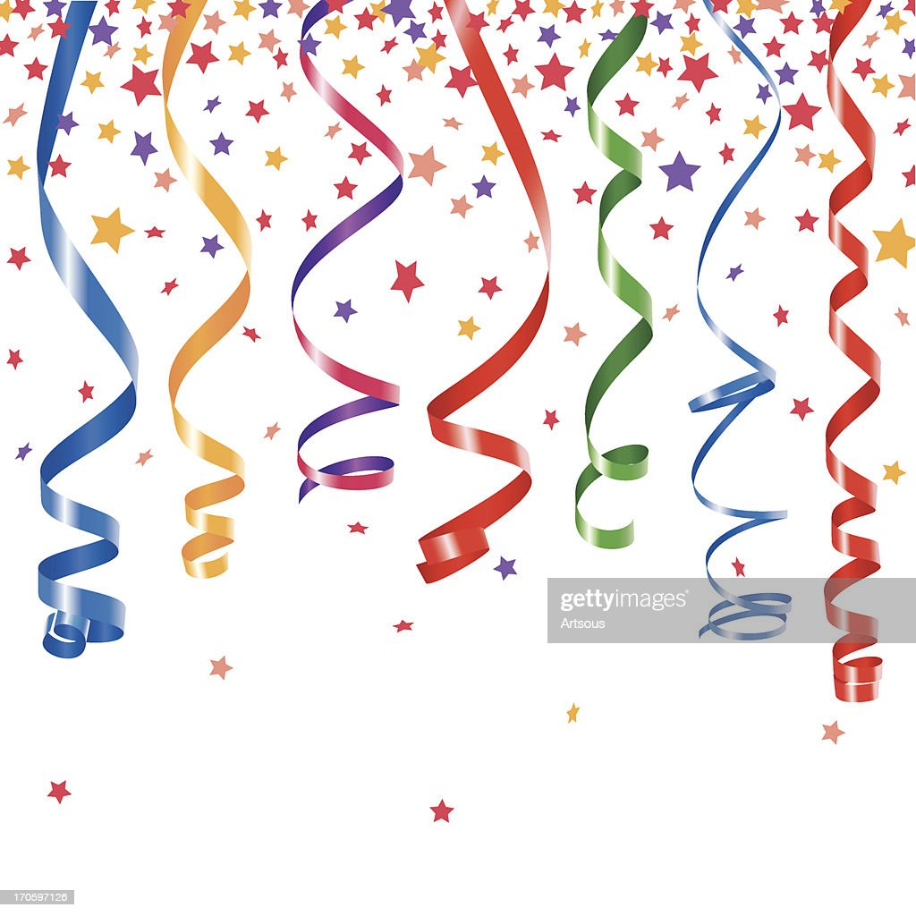 Party ribbons and confetti