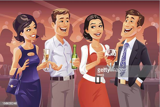 party talk - flirting stock illustrations, clip art, cartoons, & icons