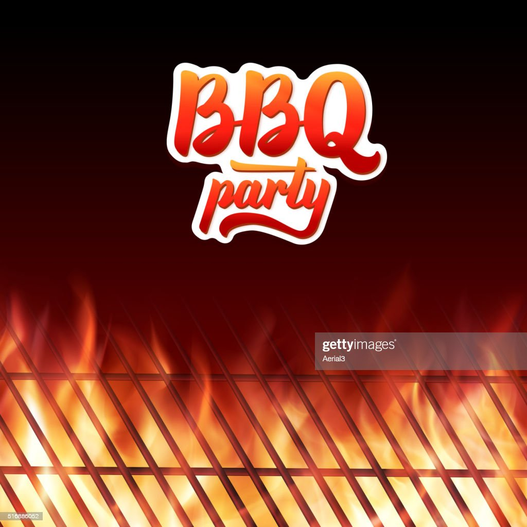 BBQ party text, grill and burning fire flames