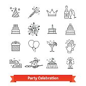 Party thin line art icons set. Entertainment