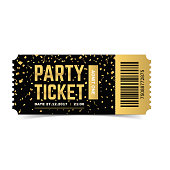 Party ticket. Vector realistic illustration.