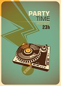 Party time poster with turntable.