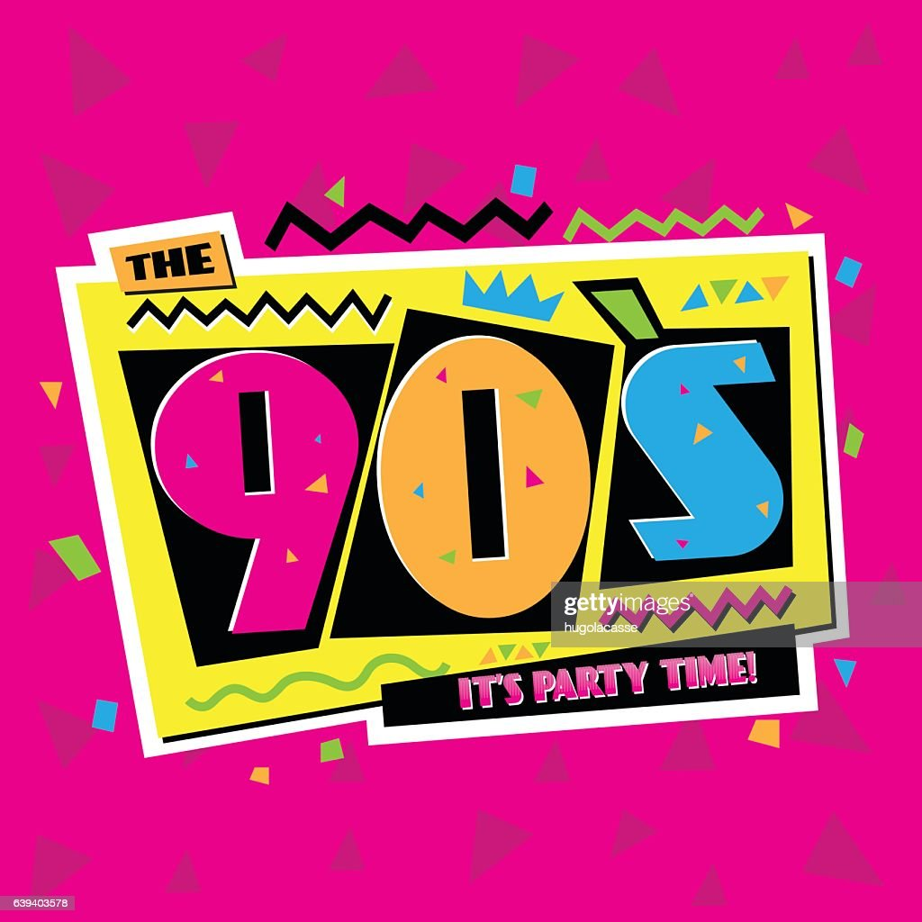 Party time The 90's style label. Vector illustration.