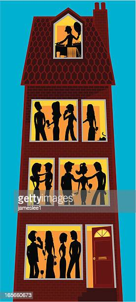 party - loft apartment stock illustrations, clip art, cartoons, & icons