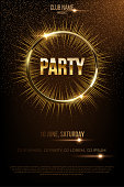 Party vector poster template with shining golden rays and glitter on dark background.