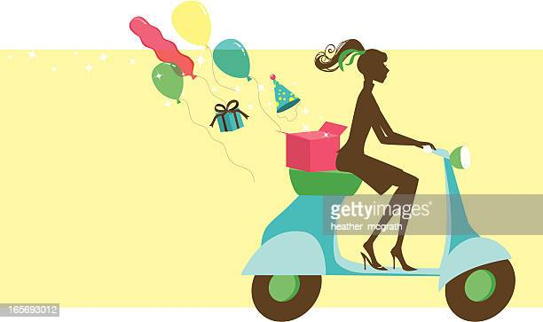 party vespa girl - moped stock illustrations, clip art, cartoons, & icons