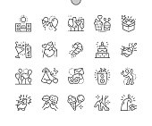 Party Well-crafted Pixel Perfect Vector Thin Line Icons 30 2x Grid for Web Graphics and Apps. Simple Minimal Pictogram