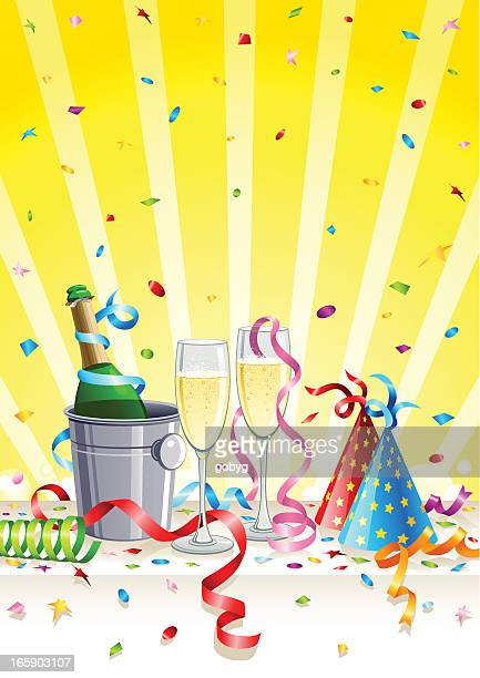 party with champagne - ice bucket stock illustrations, clip art, cartoons, & icons