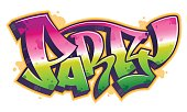 Party word in graffiti style