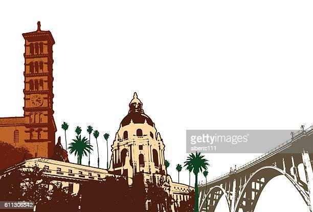 illustrations, cliparts, dessins animés et icônes de pasadena cityscape illustration - pasadena