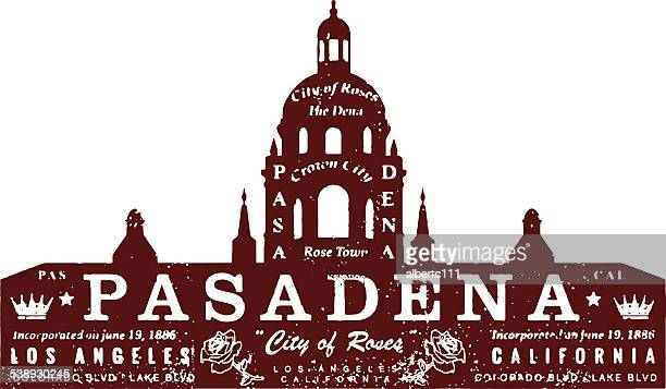 pasadena vintage stamp - pasadena california stock illustrations