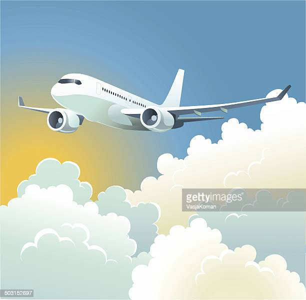 pasenger plane over the clouds - aeroplane stock illustrations