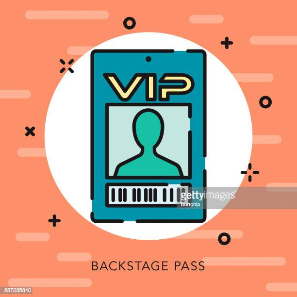 vip pass open outline music & entertainment icon - security pass stock illustrations, clip art, cartoons, & icons