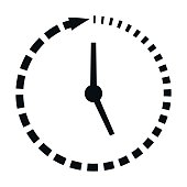Passage of time icon, clock missing time, vector concept fast lifestyle