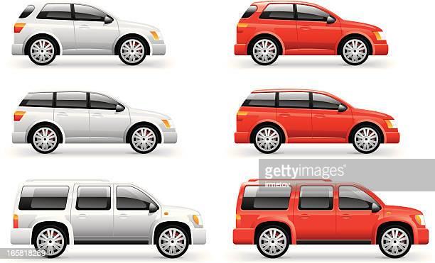 passanger cars icons - illustration - hatchback stock illustrations, clip art, cartoons, & icons
