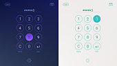 Passcode interface for lock screen, login or enter password pages. Digital numpad app, user interface kit, mobile interface. Concept of UI design, light and dark variants