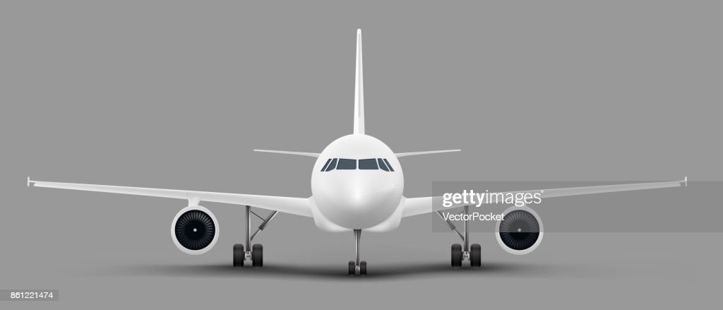 Passenger airplane front view vector template