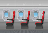 Passenger airplane red vector interior. Aircraft indoor cabin with portholes and chairs seats. Vector illustration