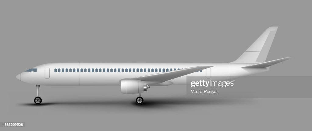 Passenger airplane side view vector template