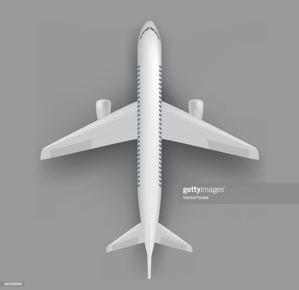 Passenger airplane top view vector template