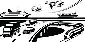 Passenger and cargo transportation scene