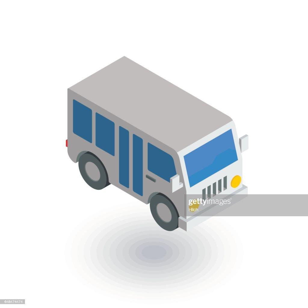 passenger bus isometric flat icon. 3d vector