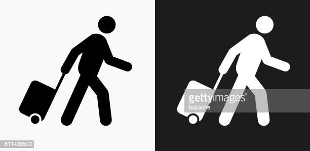 Passenger Icon on Black and White Vector Backgrounds