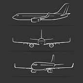 Passenger jet aircraft silhouettes, contours, outlines. Side, front, perspective view of modern airplane in flight