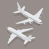 Passenger plane in isometric view.