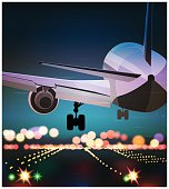 Passenger plane is landing old poster