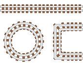 Passenger train vector rail tracks brush, railway line or railroad elements