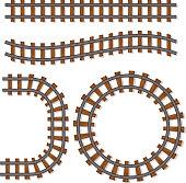 Passenger train vector rail tracks brush, railway line