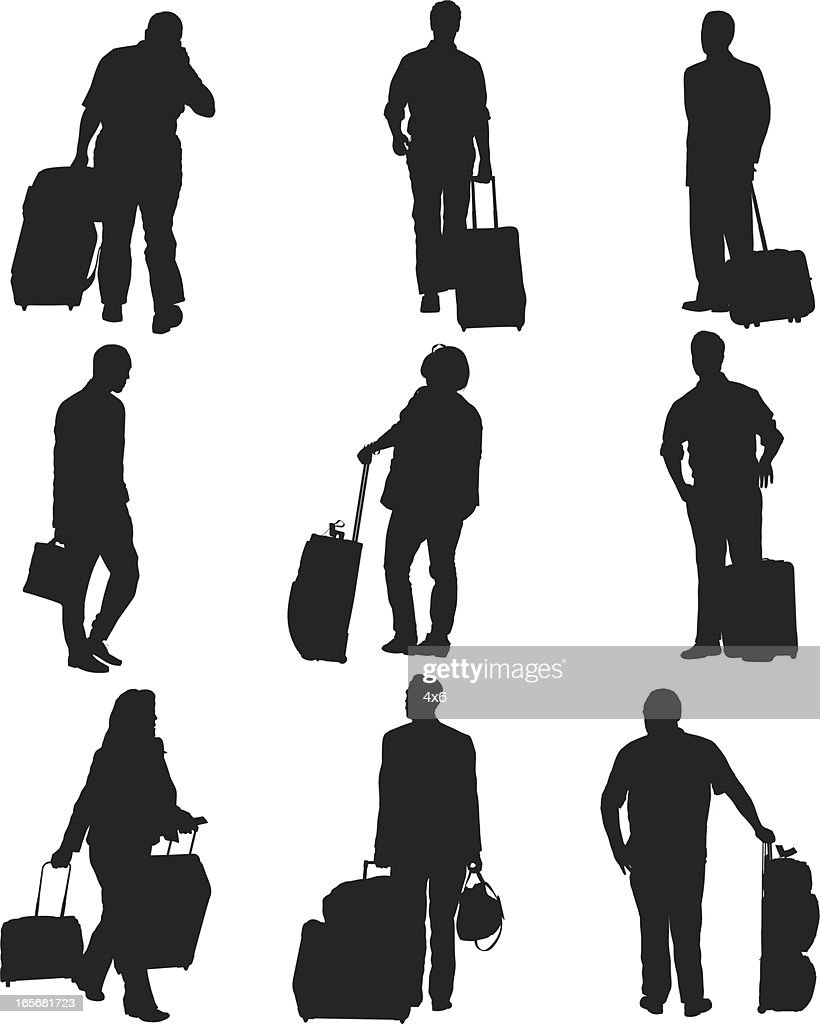 Passengers with their luggage at an airport