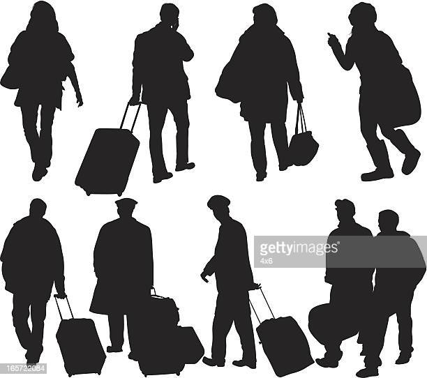 Passengers with their luggage
