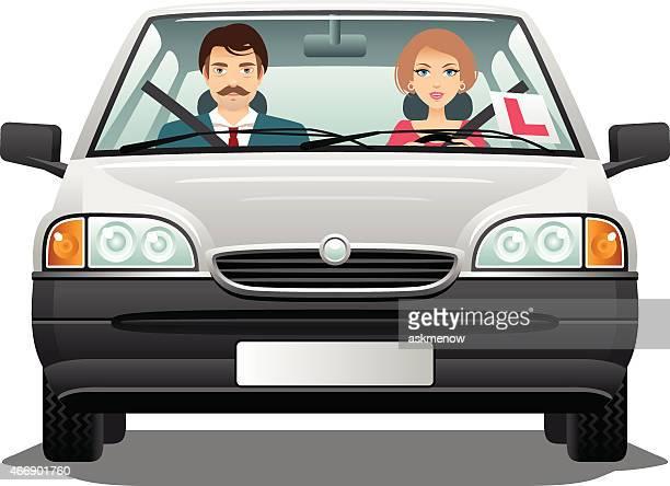 illustrations, cliparts, dessins animés et icônes de passant l'examen de conduite - permis de conduire