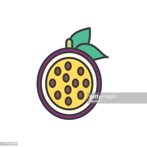 illustrations, cliparts, dessins animés et icônes de icône mignonne de fruit de passion - fruit exotique