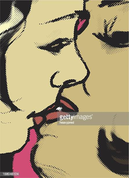 passionate kiss between two girls - sex and reproduction stock illustrations, clip art, cartoons, & icons