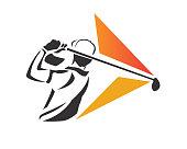 Passionate Professional Golf Athlete Illustration