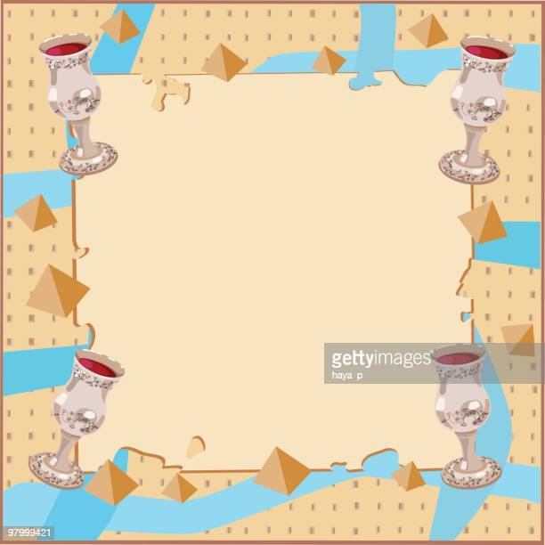 passover background with four silver cups - passover stock illustrations