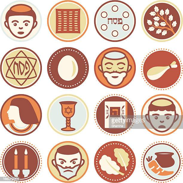 passover - circle icons / seals - passover stock illustrations