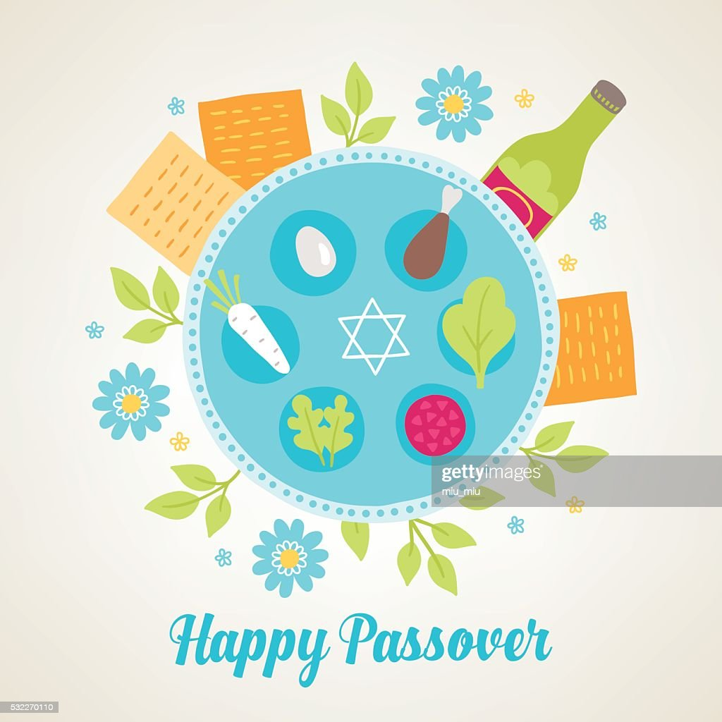 Passover Greeting Card With Jewish Holiday Symbols Vector Art