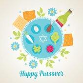Passover greeting card with Jewish holiday symbols
