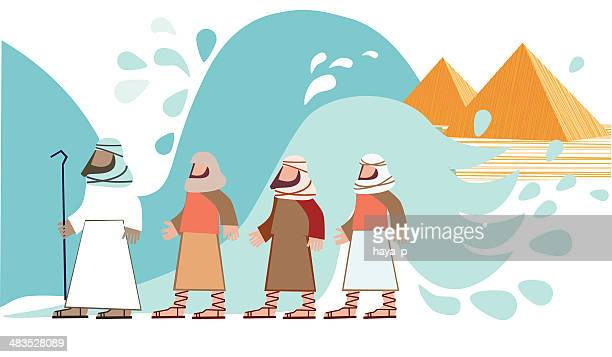 passover. jews walking through the parted sea - passover stock illustrations