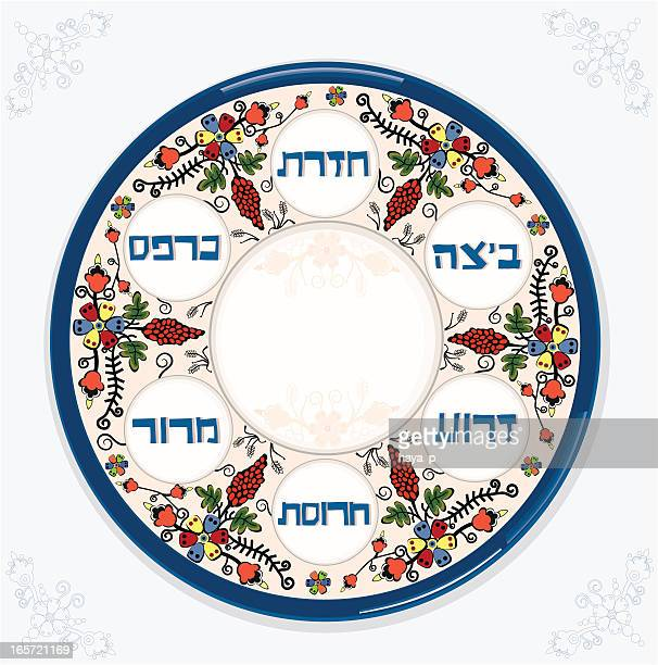 passover plate on blue napkin - passover stock illustrations