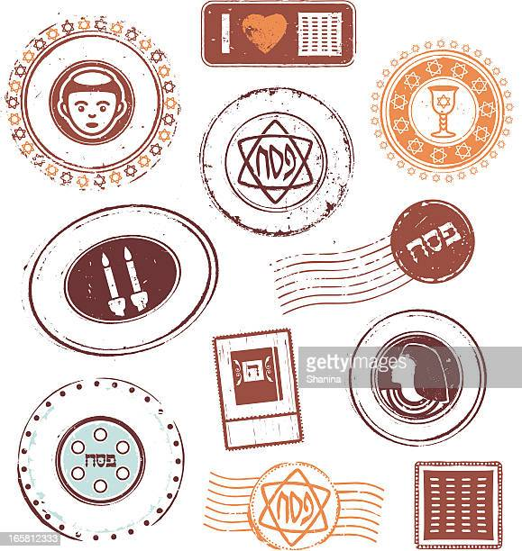passover rubber stamps - passover stock illustrations