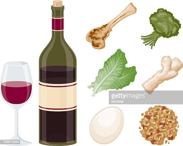 passover seder ingredients - shank stock illustrations, clip art, cartoons, & icons