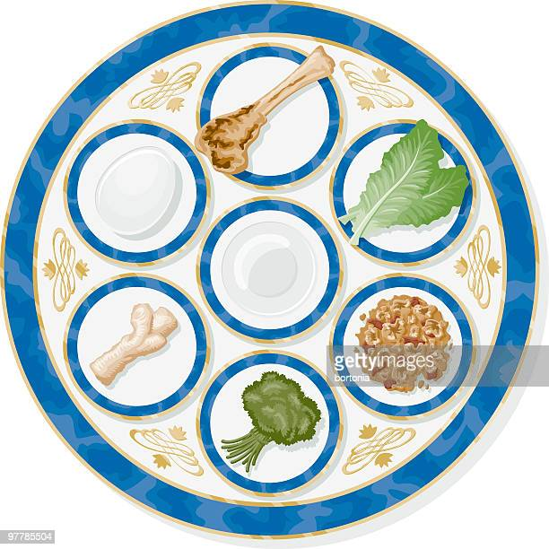 passover seder plate - passover stock illustrations