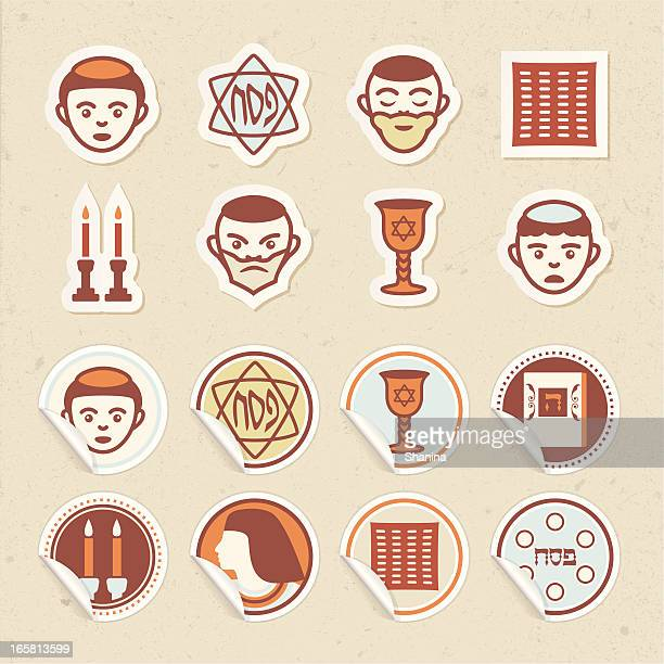 passover sticker icons - passover stock illustrations